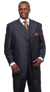 SKU#PNM62 MenS Blue Denim Style Wool Touch Vested Urban Suits