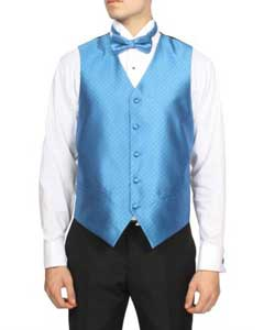 Mens Blue Diamond Pattern 4-Piece Vest Set Also available in Big and Tall Sizes