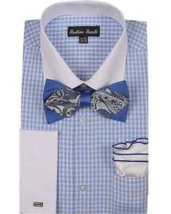 White Collar Two Toned Contrast Blue Checks Design With Bow Tie