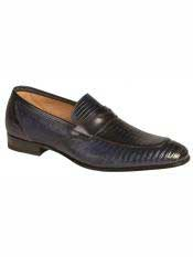 Brand Blue Genuine Lizard Loafer Shoes