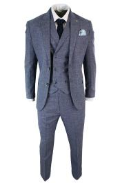 Mens 3 Piece Blue and Grey Checked Double Breasted Waistcoat Vintage Tailored Fit Suit