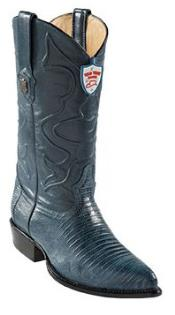 Wild West Blue Jean J-Toe Teju Lizard Cowboy Boots