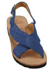 Mens Blue Jean Exotic Skin Sandals In Ostrich Or World Best Alligator ~ Gator Skin Or Stingray