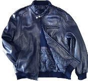 Mens Leather Bomber Jacket Soft Lambskin Blue tanners avenue jacket