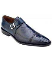Mens Blue Genuine Ostrich & Italian Calfskin Monk Strap Loafer Shoes