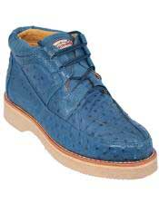 Altos Mens Stylish Blue Jean Full Ostrich Skin Casual Sneakers