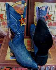 Altos Jean Blue Genuine Full Quill Ostrich Western Cowboy Boot
