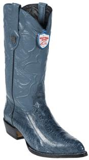 West Blue Jean Ostrich Leg Cowboy Boots