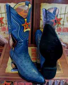 Blue Genuine Quill Ostrich Los Altos Western Cowboy Boot (EE) -