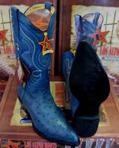 Altos Jean Blue Genuine Full Quill Ostrich Western Cowboy Boot (EE)