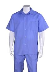 Mens Plain Short Sleeve Blue Linen Casual Casual Two Piece Mens Walking