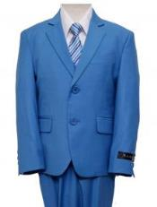 Blue Single Breasted Boys Suit
