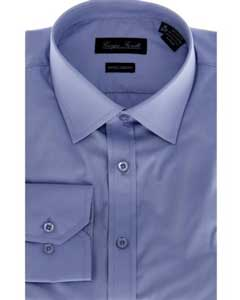 Blue Slim-Fit Mens Dress Shirt