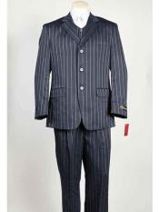 Mens Blue 3 Button Bold ~ Gangster ~ Chalk Stripe Navy Blue With Light Blue Stripe