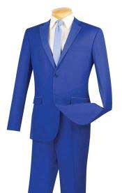 Blue Dot Lapel 2 Button Cheap Priced Business Suits Clearance Sale