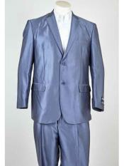 Summer Blue 2 Button Polyester Single Breasted Notch Lapel Suit