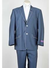 Fit Mens Blue 2 Button Single Breasted White Trim Notch Lapel