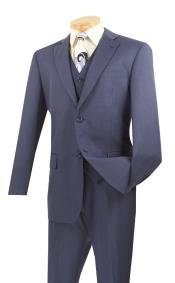 3 Piece Wool Feel Classic Suit– Blue