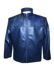 - 2010 Blue Zipper Closure Lamb Skin/Crocodile Jacket