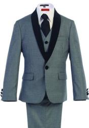 Boys Kids Sizes Tuxedo Suit AFT 3-Button Vest Classic Fit  Suede