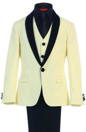 Kids Sizes Tuxedo Suit AFT 3-Button Vest Suede Shawl Suit with Adjustable Tie Ivory