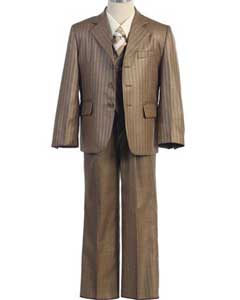 Sizes Pinstripe Tan Suit