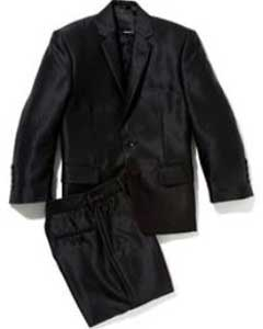 Shiny Silver Black Sharkskin Boys Kids Youth 3 Piece Premium suit