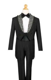 Black Kids Sizes 4 Button Tuxedo with Tails CummerbundShirt and Bow
