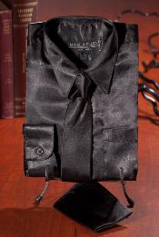 Black Satin Combo Mens Dress Shirt