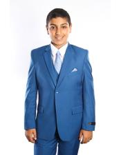 Children Solid French Blue  Royal Suits Vested 2 Button
