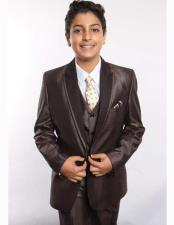 Boys Brown Poly Rayon Satin Peak Leapel 5 Piece Vested Suit With Shirt Tie & Hanky