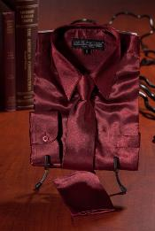 Burgundy ~ Maroon ~ Wine Color Satin Combo Mens Dress Shirt