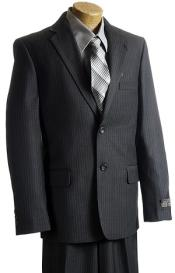 Charcoal Kids Sizes Pinstripe 2 Button Italian Design Suit