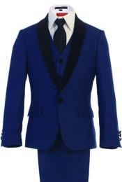 Kids Sizes Tuxedo Suit Classic Fit Suede Shawl Dress Suits for Men with Adjustable Tie Royal Blue