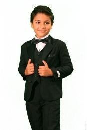 Boys 3 Piece Fashion Designer Tuxedo Black