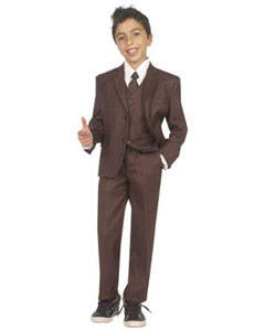 Five Piece Kids Sizes Suit With VestShirt And Tie Brown