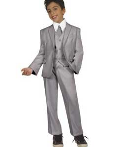 Boys Grey Side vents Five Piece Suit With VestShirt And Tie