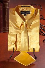Gold Satin Combo Mens Dress Shirt