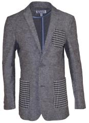 Boys 2 Button Single Breasted Gray Linen Blazer