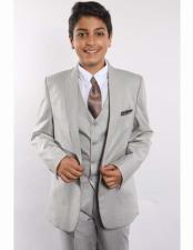 Boys Gray One Button Shawl Lapel With Shirt Tie & Hanky Vested