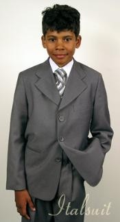 Boys Suits Kids gray suit Italian super fine wool feel poly~rayon