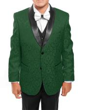~ Children ~ Boys ~ Toddler Kids Sizes Tuxedo Vested Green/Black
