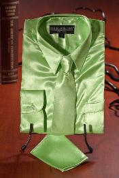 lime mint Satin Combo Mens Dress Shirt