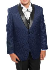 Boys 3 Piece Dark Navy/Black Satin Shawl Collar Floral Pattern Tuxedo Set