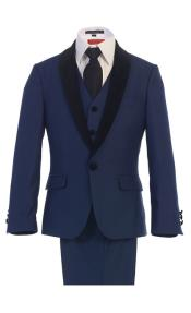 Boys Kids Sizes Tuxedo Suit Navy Suit With Dress Shirt
