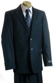 Navy Pinstripe 2 Button