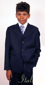 Boys Suits Super 150s Italian wool feel poly~rayon Navy Suit For Kids