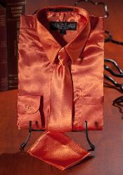 Orange Satin Combo Mens Dress Shirt