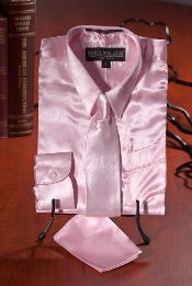 Light Pink Satin  Combo Mens Dress Shirt