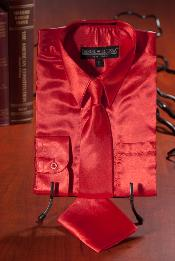 Red Satin Combo Mens Dress Shirt